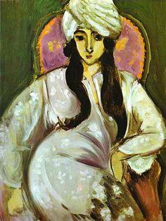 """""""Laurette em um turbante branco"""" por Henri Matisse (1869-1954, France)"""