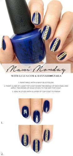 Mani Monday: Navy Blue Studded Nail Tutorial at LuLus.com!