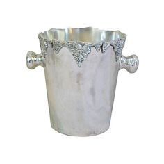 Pre-Owned Wine Champagne Bucket w/ Grape Motif ($125) ❤ liked on Polyvore featuring home, kitchen & dining, bar tools, silver, wine chiller, vintage champagne bucket, vintage ice bucket, wine ice bucket and wine-bucket