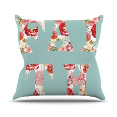 "Suzanne Carter ""FAITH"" Blue Red Outdoor Throw Pillow from KESS InHouse"
