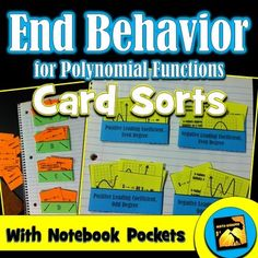 End Behavior for Polynomial Functions- unique pocket setup & cards with a mix of equations, explanations, and graphs