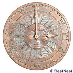 "Whitehall Sunface Clock, Copper Verdi, 12"""" dia."