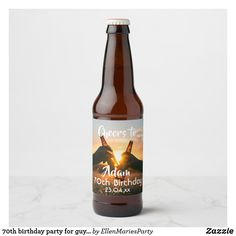Shop birthday party for guys cheers beer beer bottle label created by EllenMariesParty. Personalize it with photos & text or purchase as is! Bottle Labels, Beer Bottle, Buy Beer, Cheer Party, 70th Birthday Parties, Beer Label, Cheers, Evening Sunset, Guys