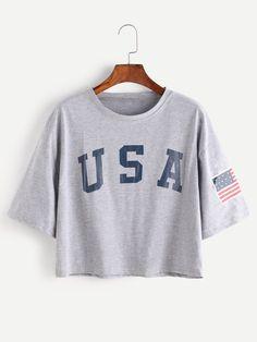 T-Shirts by BORNTOWEAR. American Flag Letter Print Drop Shoulder Tee