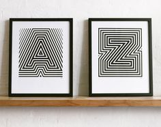 Alphabet posters by YeahNoYeah. These would look great in our family room. A to Z. Amanda and Zach hehe