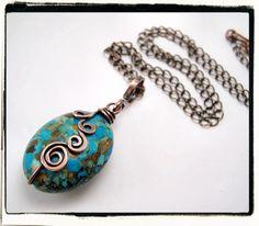 Turquoise Magnesite Freeform Copper Pendant.