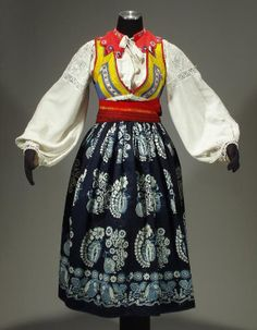 Complete Woman's Slovak Folk Costume from Liptov, Slovakia - embroidered blouse | linen pleated skirt | indigo apron | wool sash belt | vest...
