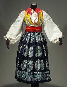 Complete Woman's Slovak Folk Costume from Liptov, Slovakia - embroidered blouse | linen pleated skirt | indigo apron | wool sash belt | vest...