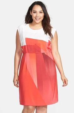Vince Camuto Contrast Yoke Ombré Print Sheath Dress (Plus Size) available at #Nordstrom