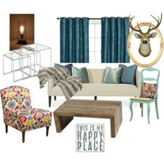 """""""Living Room Love"""" by jessica-banks on Polyvore This is exactly how I want my living room to look!!!  SO IN LOVE! Eclectic mix of rustic, antique, modern, prints, and industrial pieces."""