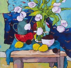 Tulips and Papaya with Blue – Angus Wilson | Ann Korologos Gallery
