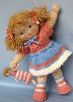 Knitting Patterns Toys Amelie - dolly with dolly knit doll by SAburns Jack and Jill - - doll knitting patterns - knitted baby dolls - PDF Instant Downlowd - Dollytime Enhance Child Development With Toys. Knitted Dolls Free, Knitted Doll Patterns, Crochet Dolls, Knitting Patterns, Knitting Projects, Crochet Cats, Crochet Birds, Crochet Food, Knitting Designs