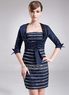 Forme Fourreau Sans bretelle Courte/Mini Taffeta Robe de mère de la mariée avec Plissé Sequins À ruban(s) (008005975) - JJsHouse