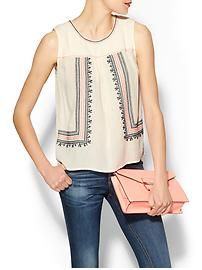 Skies Are Blue Sleeveless Embroidered Top