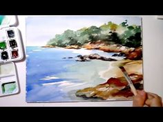 Speed-painting Sea shore in watercolor - YouTube
