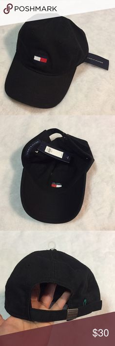 NWT Tommy Hilfiger black logo one size hat New with tags classic color Tommy Hilfiger Accessories Hats
