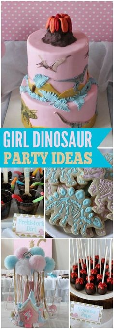 You have to see this pink girly dinosaur party! See more party ideas at CatchMyParty.com!