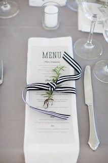 Black and White Weddings - Placesetting #SummerStreetPhotography decor, wedding reception tables, event, ribbons, wedding places, black white, white weddings, stripes, wedding menu