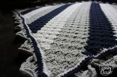 Kindra's Crochet Corner-to-Corner C2C Navy, Gray (Grey Mist) and White baby blanket Pattern Tutorial Elephant Border