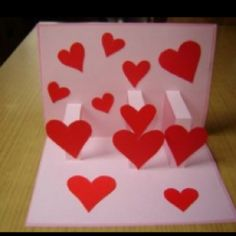3d heart card  http://craftsideasforkids.com/3d-popup-cards-with-hearts.html