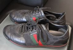 AUTHENTIC GUCCI MADE IN ITALY 237715 SIZE 10 LEATHER MENS SHOES ATHLETIC BLACK  #Gucci #FashionSneakers