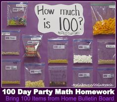 photo of: 100 Day Party Math Homework Bulletin Board in Kindergarten. We do the same sharing idea, but I have never thought of making it into a bulletin board! Preschool Math, Math Classroom, Kindergarten Math, Teaching Math, Math Activities, Teaching Calendar, Kindergarten Graduation, Classroom Displays, Teaching Resources