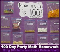100 Day Party Math Homework Bulletin Board