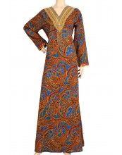 "aljalabiya.com: ""Red Dragon"" Cotton patterned kaftan with embroidery and beads (N-11987-11)  $98.00"