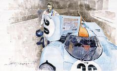 Watercolor Painting - Porsche 917k Le Mans Steve Mcqueen by Yuriy Shevchuk