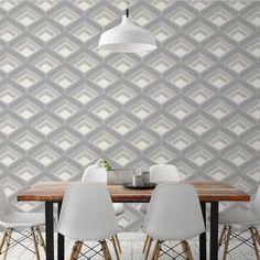 Retro Geometric Effect Wallpaper Grey Love Wallpaper, Pattern Wallpaper, Geometric 3d, Living Area, Living Room, Girls Bedroom, Tile Floor, Art Deco, Retro