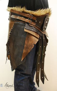 Orc barbarian leather belt. LARP Belt. Fantasy by AscuasNegras