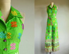 Vintage Malia Jumpsuit / 1970s Mod Green Hawaiian Ethnic Stripe Print Bell Bottom Flare Leg Halter / Made in Hawaii