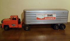 Vintage Marx Sears Allstate Toy Semi Truck and Trailer Pressed Steel 1950's | eBay