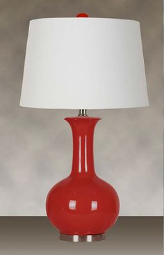 Glossy Red Finish with a White Hardback Shade (2 Lamps), $115.89