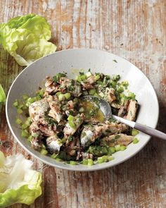 Lemon Herb Sardine Salad | Get your dose of healthy oils with this recipe for lemony sardine mix over lettuce.