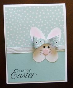 Happy Easter - handmade Easter card … punch art bunny face from a heart . paper bow … luv the soft colors … - Arte Punch, Punch Art Cards, Greeting Cards Handmade, Handmade Easter Cards, Diy Easter Cards, Kids Cards, Baby Cards, Paper Cards, Creative Cards