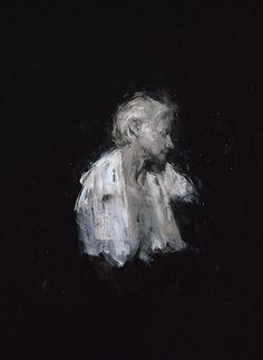 """Drawing Shadows; portraits of my mother 12, fusain, pastel et acrylique sur papier stonehenge noir / charcoal, pastel and acrylic on black stonehenge paper, 76 x 56 cm / 30 x 22"""""""