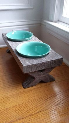 Raised Small Dog Bowl DishElevated Stand Rustic by hout1design