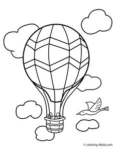 balloon transportation coloring pages aerostat for kids printable free - Air Transportation Coloring Pages