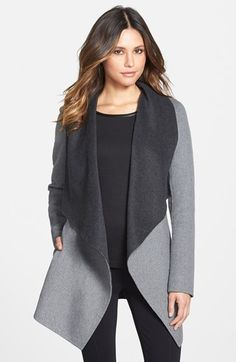 Soia+&+Kyo+Double+Face+Wool+Blend+Wrap+Coat+available+at+#Nordstrom  Reversible coat! 2 in 1. The unlined wool is great for CA, too.