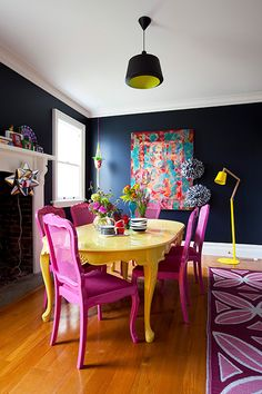 Live Spring in your dining room design, with these glamorous dining room colors. These blue dining room chairs could be replaced by t Decor, Dining Room Colors, Interior, Dining Room Design, House Interior, Painted Dining Table, Room Colors, Dining Room Decor, Interior Design