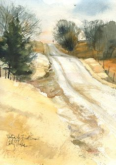 """""""Waiting for the First Snow"""" - Cathy Johnson Fall landscape Watercolor Journal, Watercolor Trees, Watercolor Landscape, Watercolor And Ink, Watercolour Painting, Landscape Art, Painting & Drawing, Landscape Paintings, Watercolours"""