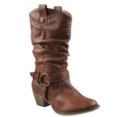 Refresh Women Wild-02 Western Style Cowboy Boots ($40) ❤ liked on Polyvore featuring shoes, boots, brown, cowboy boots, botas, beige, brown cowgirl boots, wedge boots, wide boots and brown cowboy boots