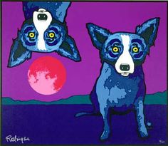 """ And The Dog Jumped Over The Moon "" by George Rodrigue 2000 Blue Dog Painting, Buffalo Painting, Blue Dog Art, Blue Art, Louisiana Art, Dog Cafe, Dog Artwork, Dog Paintings, Over The Moon"