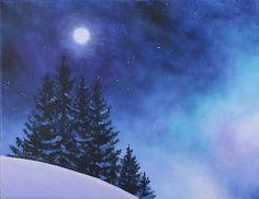 Aurora Borealis Winter Painting  - Aurora Borealis Winter Fine Art Print