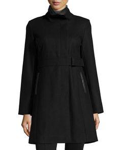 Wool-Blend Coat w/Faux-Leather Trim, Black by Via Spiga at Neiman Marcus Last Call.
