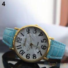 New Geneva Blue Shell Wrist Quartz Ladies Women Girl Watch 416 #Geneva #Casual