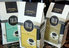 Love this packaging for Tully Coffee.