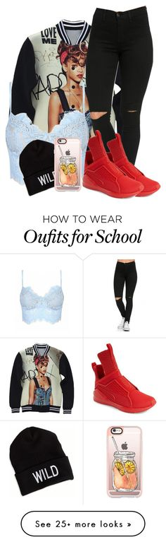 """""""school winter attire ft rihanna"""" by rosebudsvv on Polyvore featuring Puma, American Eagle Outfitters and Casetify"""