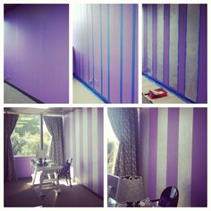 DIY painting stripes on a wall. Super easy, super chic office! Silver stripes over bright purple paint...loveeeeeee itttttt